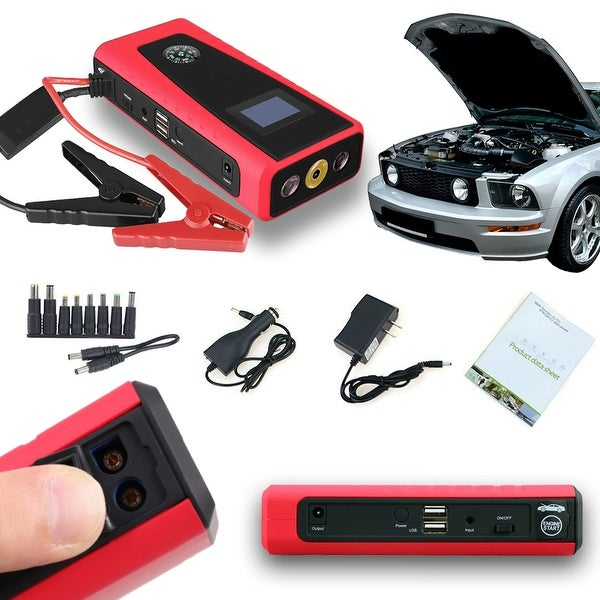 Indigi® 12000mAh HeavyDuty Rugged Portable Automotive Jump Starter PowerBank w/ USB Charging Port & LED Flashlight - Black/Red