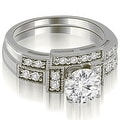 1.05 cttw. 14K White Gold Antique Milgrain Round Diamond Bridal Set - Thumbnail 0