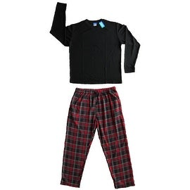 Men's 2 PC Thermal Top & Fleece Lined Pants Pajamas Set (Black)