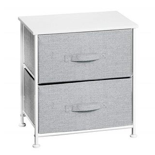 17.75 x 12 x 21.25 in. White & Gray Fabric Two-Drawer Storage Unit