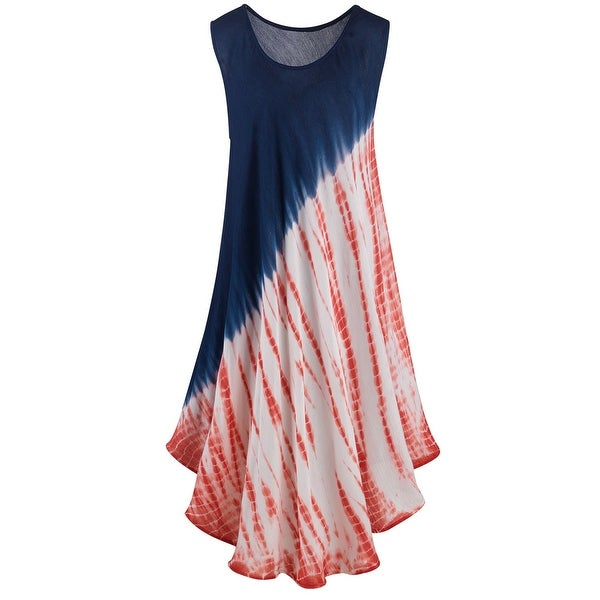 89a9620fa93 Shop Kaktus Sportswear Women s Tie-Dye Sundress - Sleeveless Red White and  Blue Dress - On Sale - Free Shipping On Orders Over  45 - Overstock -  22580793