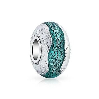 Bling Jewelry Teal Blue Murano glass Lampwork Charm Sterling Silver Wavy Striped Bead for European Bracelet