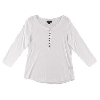 Lauren Ralph Lauren Womens Henley Top Cotton Lace-Trim
