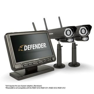 "Defender PHOENIXM2 Digital Wireless 7"" Monitor DVR Security System with 2 Night Vision Cameras and SD Card Recording"