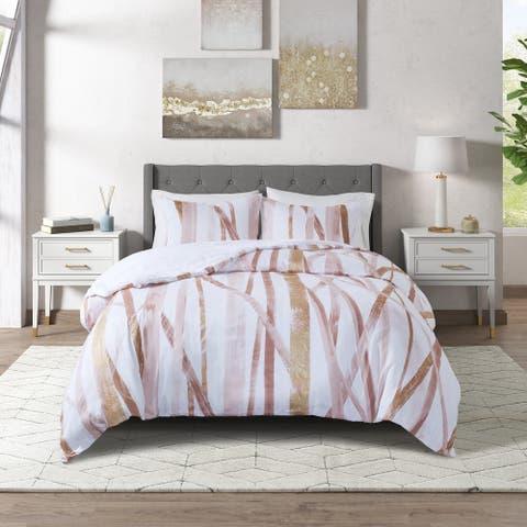 Jorja Blush/ Gold Cotton Metallic Printed Comforter Set by CosmoLiving