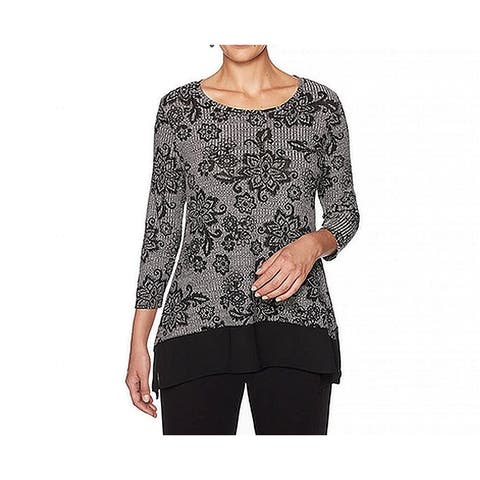 Ruby Rd. Womens Gray Size 1X Plus Scoop Neck Ribbed Floral Blouse