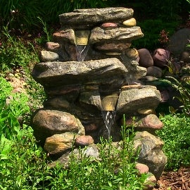 Sunnydaze Rock Falls Fountain with LED Lights, 27 Inch Tall