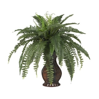 Nearly Natural Boston Fern with Urn Silk Plant Green
