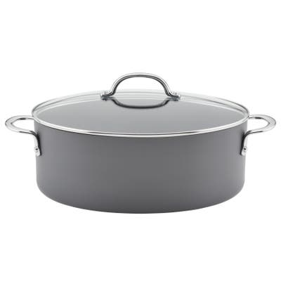 Rachael Ray Hard Anodized Cookware Oval Pasta Pot and Braiser, 8qt