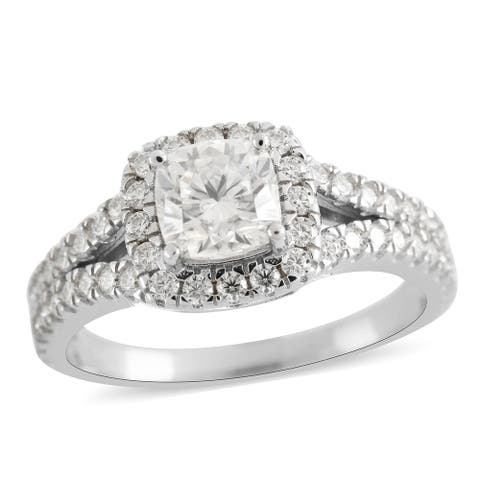 925 Sterling Silver Moissanite Halo Engagement Ring Size 10 ctw 1.8