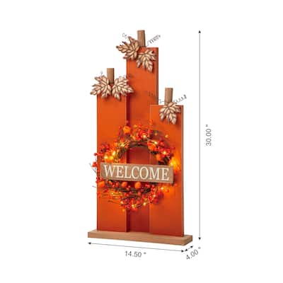 Glitzhome Fall Lighted Wooden Welcome Porch Decor w/Wreath
