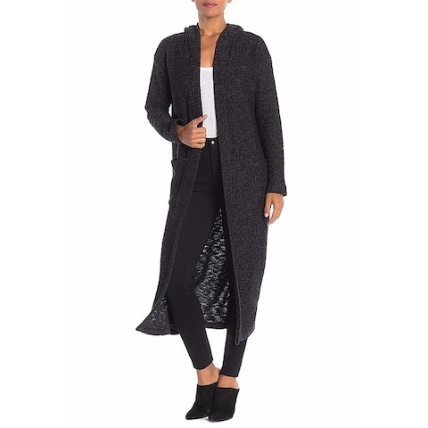 Sanctuary Women's Sweater Black Size XS Cardigan Hooded Knit Long