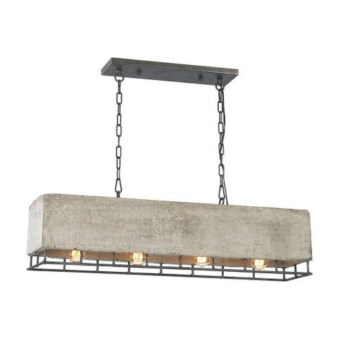 Mellor Hall - Four Light Chandelier Silverdust Iron Finish with Concrete/Metal Frame Shade