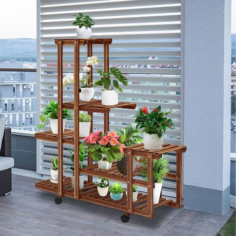 Kinsunny Wooden Plant Stand Multi Layer Flower Stand with Wheels Rolling Plant Flower Display Shelf (13-15 Flowerpots)