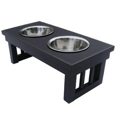 Ecoflex Adjustable Height Double Dog Bowl By New Age Pet-Medium-Espresso