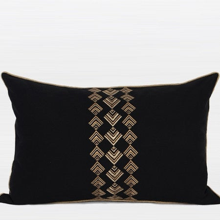 "G Home Collection Luxury Black And Gold Geometry Pattern Embroidered Pillow 14""X22"""