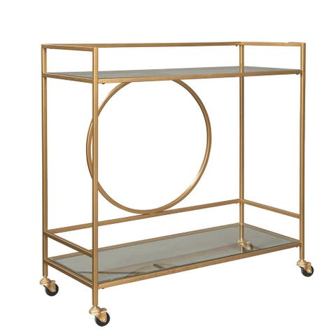 Metal Frame Bar Cart with 2 Mirrored Shelves, Antique Gold