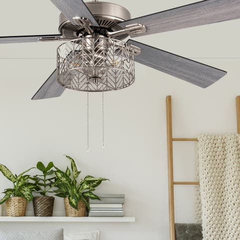 """Layla River of Goods Satin Nickel 52 in. Ceiling Fan With 2 LED Lights - 52"""" x 52"""" x 13.75""""/18.75"""""""