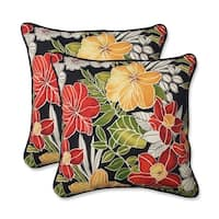 Set of 2 Black Tropical Floral Pattern Square Outdoor Throw Pillow 18""