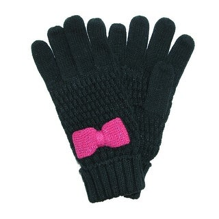 Grand Sierra Girls' 7-16 Knit Glove with Bow - One Size
