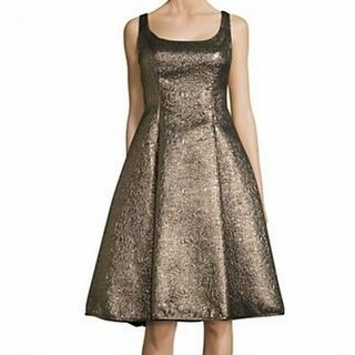 Nicole Miller NEW Gold Womens Size 14 Pleated Shimmer Sheath Dress