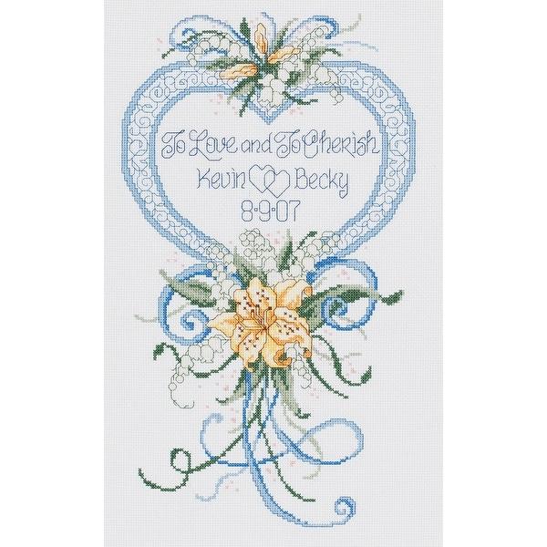 "Cherish Wedding Heart Counted Cross Stitch Kit-9""X15"" 14 Count"