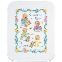 """34""""X43"""" - Baby Hugs Someone New Quilt Stamped Cross Stitch Kit"""