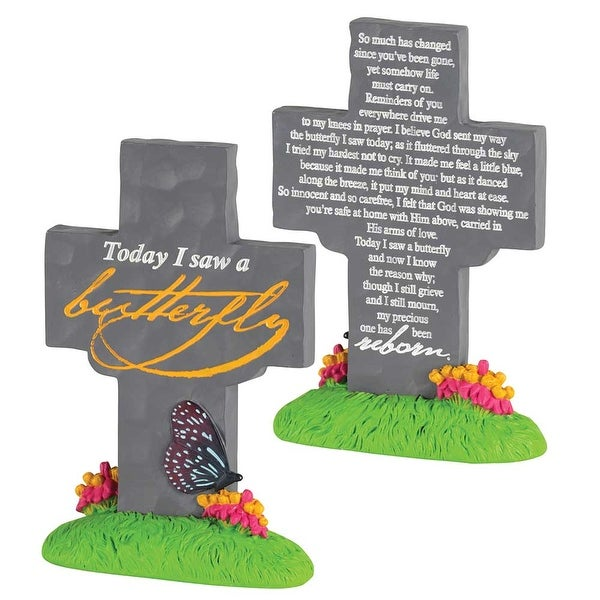 """5.5"""" Gray and Yellow """"Today i saw a butterfly"""" Engraved Cross Tabletop - N/A"""