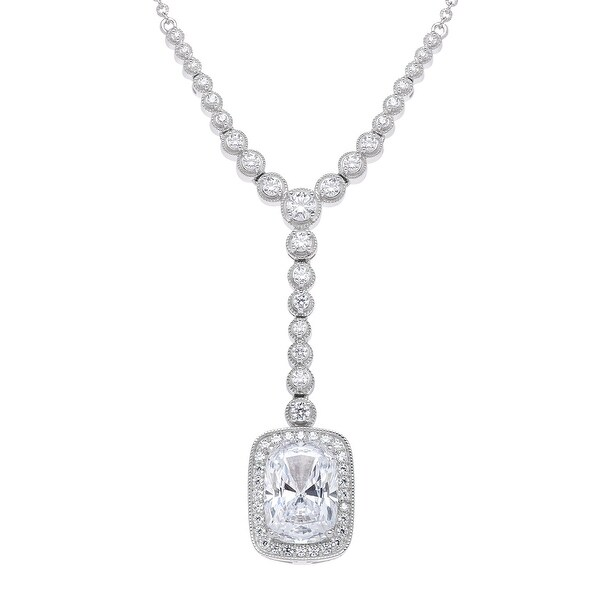 Drop Necklace with Swarovski elements Zirconia in Sterling Silver