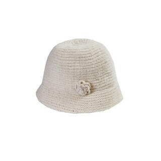 August Hat Ivory Chenille Cloche OS
