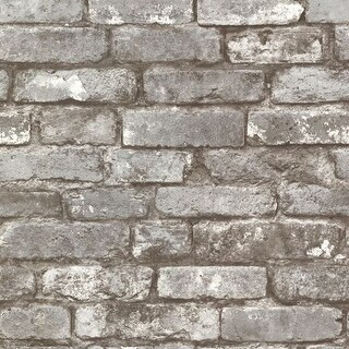 Brewster 2604-21259 Brickwork Pewter Exposed Brick Texture Wallpaper