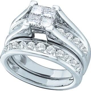 14k White Gold Princess Natural Diamond Womens Size 6 Wedding Bridal Ring Set 1.00 Cttw