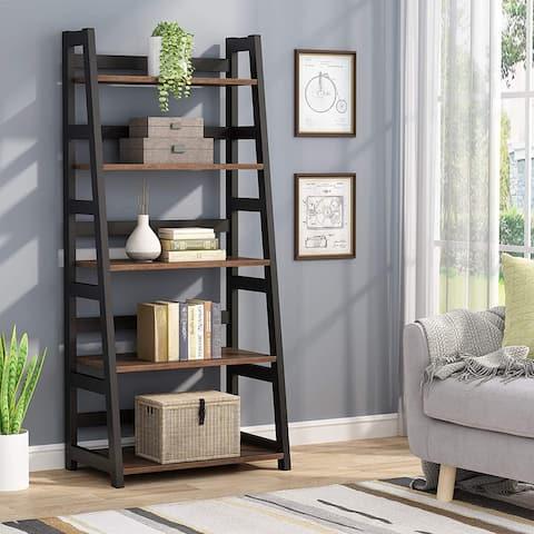 Industrial 5 Tier Ladder Shelf Bookshelf Bookcase for Living Room