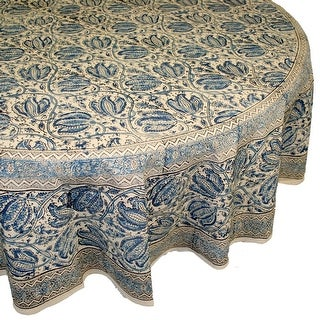 Handmade Vegetable Dye Block Print Tablecloth 100% Cotton Blue Rectangle Square Round