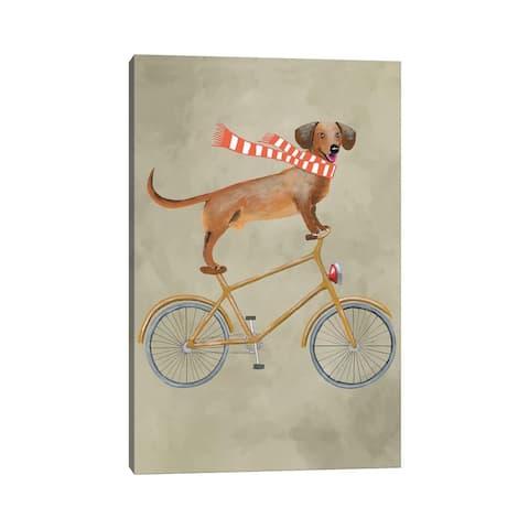 "iCanvas ""Dachshund On Bicycle II"" by Coco de Paris Canvas Print"
