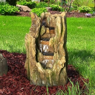 Sunnydaze Tree Trunk Falls Outdoor Water Fountain with LED Lights 22 Inch Tall