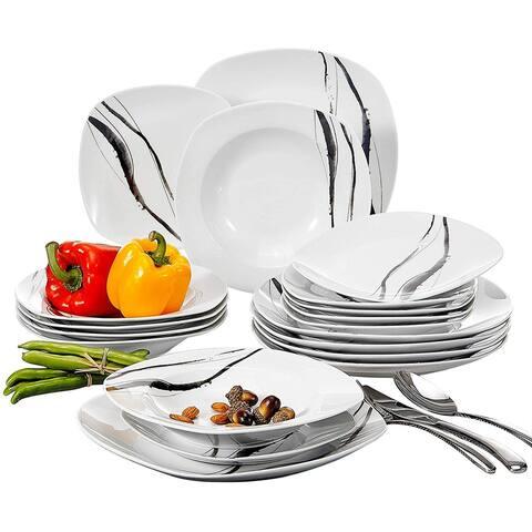 VEWEET 'Teresa' Porcelain Dinner Plate Sets (Service for 6)