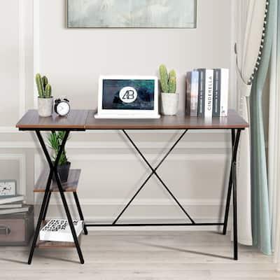 Carbon Loft Searz Industrial Computer Writing Desk with 2 Shelves
