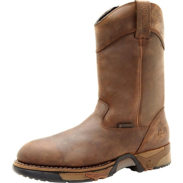 "Rocky Work Boots Mens 11"" Aztec Waterproof Wellington Brown"