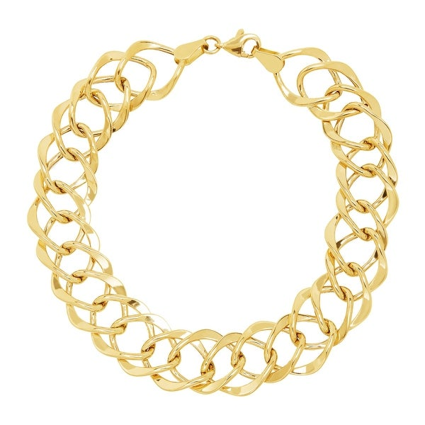 Just Gold Diamond-Shaped Beveled Link Bracelet in 14K Gold - Yellow