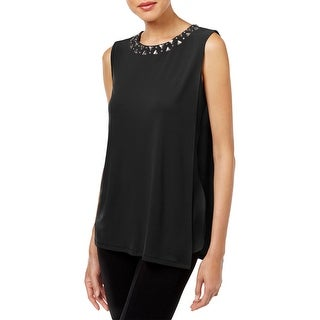 Calvin Klein Womens Casual Top Draped Embellished