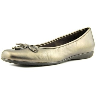 Trotters Sante Women W Square Toe Synthetic Gold Flats