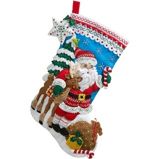 "Nordic Santa Stocking Felt Applique Kit-18"" Long"