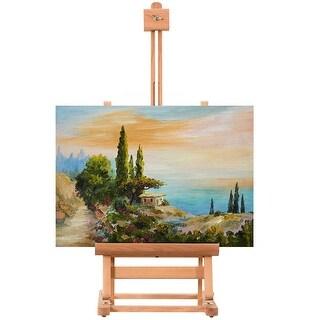 Costway Portable Wood Tabletop Easel H-Frame Adjustable Artist Painting Display Studio - burlywood