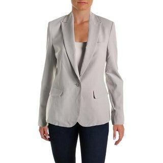 Theory Womens Virgin Wool Heathered One-Button Blazer