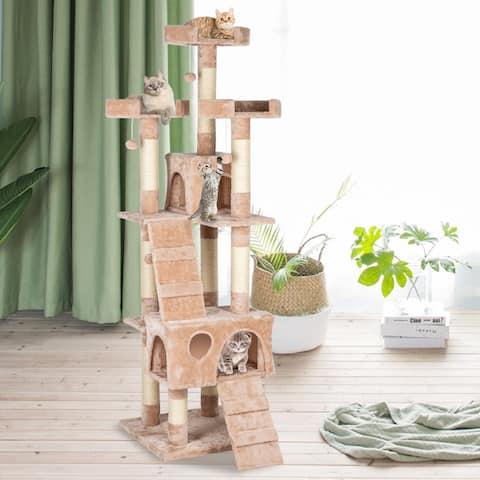 "66"" Sisal Hemp Cat Tree Tower Condo Furniture - Beige"