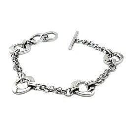 Stainless Steel Polished Double Link Charm Bracelet -7.5 Inches