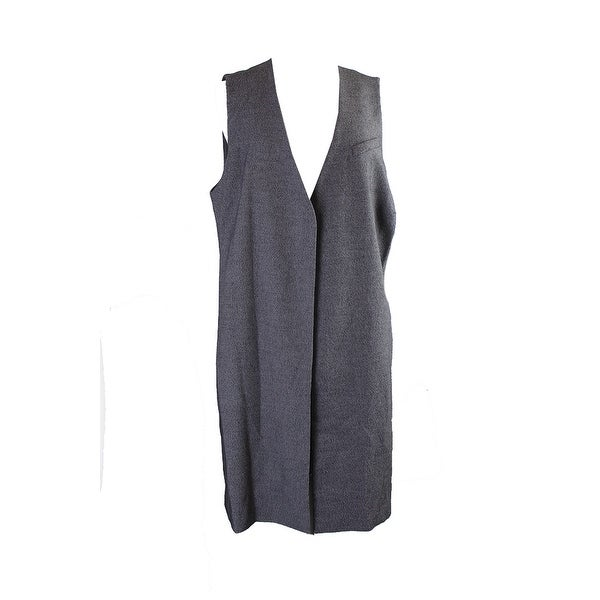 9ae2f1980ee5d6 Shop Alfani Plus Size Charcoal Heather Open-Front Tweed-Tex Vest 1X ...