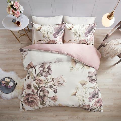 Madison Park Gisele Blush Cotton Printed Duvet Cover Set