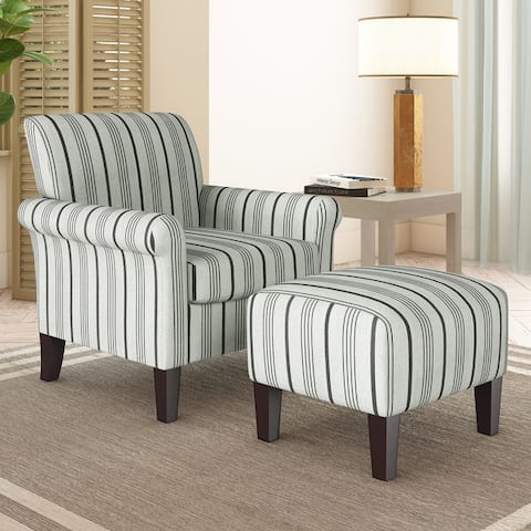 The Gray Barn Chanden Striped Armchair and Ottoman Set
